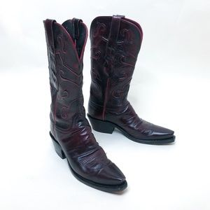 Lucchese Cowboy Boots in Black Cherry